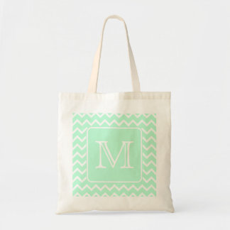 Mint Green Zigzag with Custom Monogram. Tote Bag