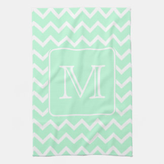 Mint Green Zigzag with Custom Monogram. Towel