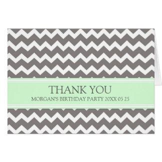 Mint Grey Chevron Birthday Party Thank You Card