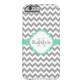 Mint Grey Chevron Pattern & Moroccan Quatrefoil Barely There iPhone 6 Case
