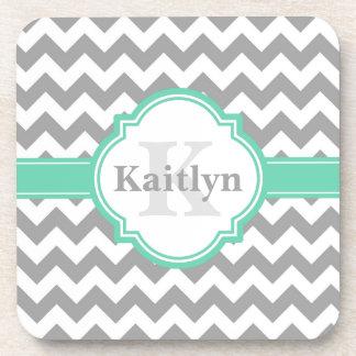 Mint Grey Chevron Pattern & Moroccan Quatrefoil Drink Coaster