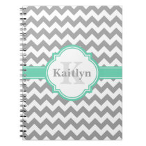 Mint Grey Chevron Pattern & Moroccan Quatrefoil Notebook