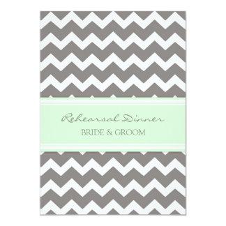 Mint Grey Chevron Rehearsal Dinner Party 5x7 Paper Invitation Card