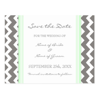 Mint Grey Chevron Save the Date Wedding Postcards