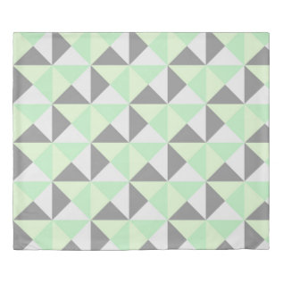 Mint Grey Geometric Triangles Duvet Cover at Zazzle
