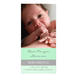 Mint Grey Template New Baby Birth Announcement