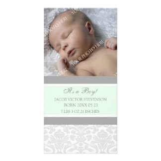 Mint Grey Template New Baby Birth Announcement Personalized Photo Card