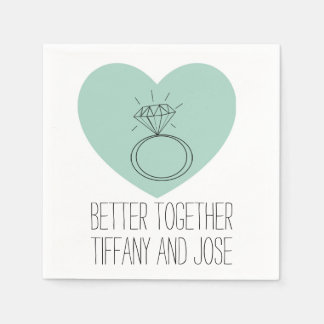 "Mint Heart ""Better Together"" Engagement Napkin"