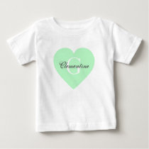 Mint Heart Name Initial Monogram Baby T-Shirt