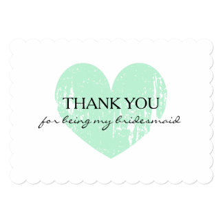 Mint heart thank you for being my bridesmaid cards