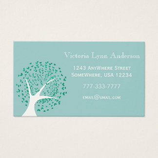 Mint Heart Tree Business Card
