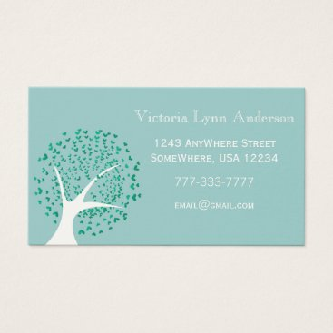 Professional Business Mint Heart Tree Business Card