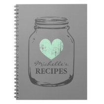 Mint heart vintage mason jar glass recipe notebook