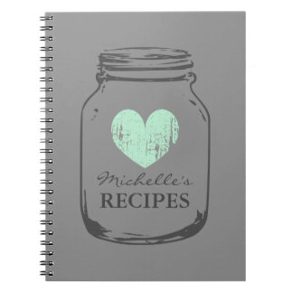 Mint heart vintage mason jar glass recipe notebook