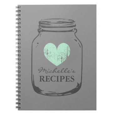 Valentines Themed Mint heart vintage mason jar glass recipe notebook