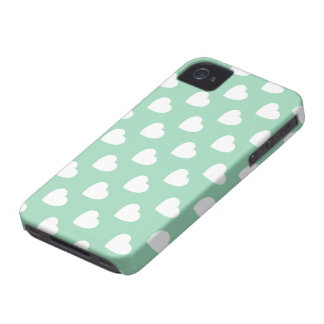 Mint Hearts Pattern iPhone 4/4S Case-Mate Barely iPhone 4 Case-Mate Case