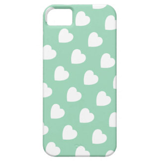 Mint Hearts Pattern iPhone 5 Case-Mate Barely iPhone SE/5/5s Case