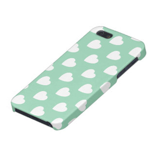Mint Hearts Pattern iPhone 5 Case Savvy Glossy