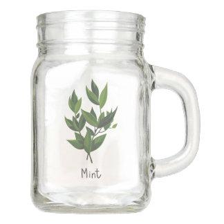 Mint Herb Sprig Mason Jar 12oz.