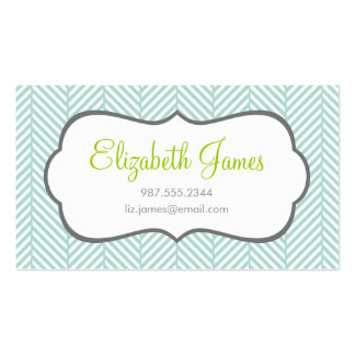 Mint Herringbone Double-Sided Standard Business Cards (Pack Of 100)