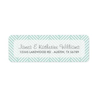 Mint Herringbone Chevron Modern Wedding Custom Return Address Labels