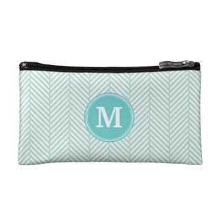 Mint Herringbone Custom Monogram Cosmetics Bags