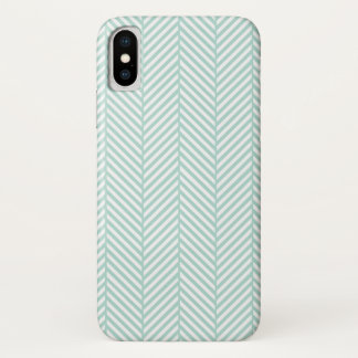 Mint Herringbone iPhone X Case