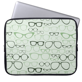 Mint Hipster Glasses Laptop Sleeves