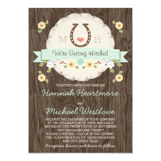 Mint Horseshoe Heart Western Wedding 5x7 Paper Invitation Card