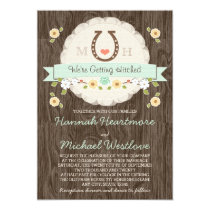 Mint Horseshoe Heart Western Wedding Card