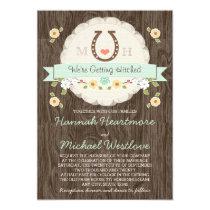Mint Horseshoe Heart Western Wedding Invitation