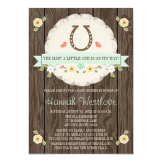 MINT HORSESHOE WESTERN GENDER NEUTRAL BABY SHOWER 5X7 PAPER INVITATION CARD