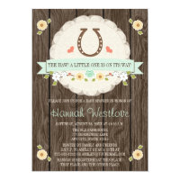 MINT HORSESHOE WESTERN GENDER NEUTRAL BABY SHOWER CARD