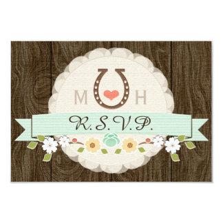MINT HORSESHOE WESTERN WEDDING RSVP CARD