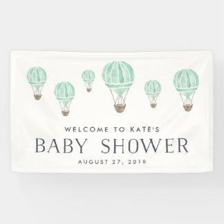 Mint Hot Air Balloon Baby Shower Banner
