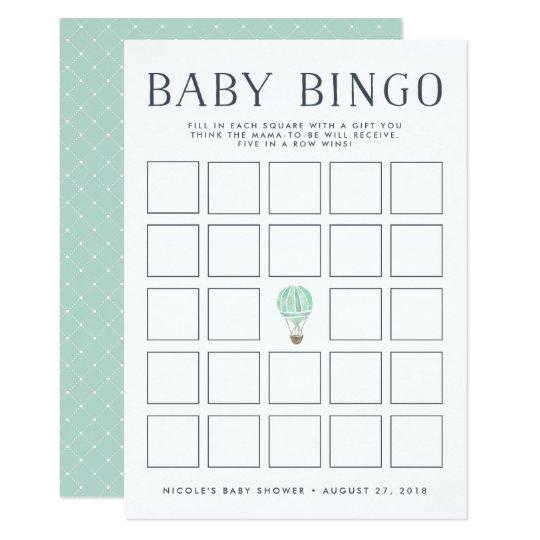 Mint Hot Air Balloon | Baby Shower Bingo Game Card