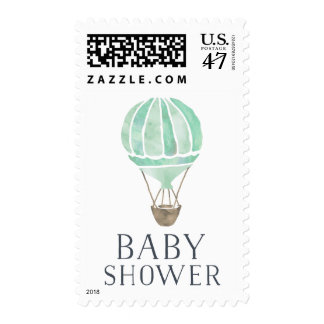 Mint Hot Air Balloon Baby Shower Postage