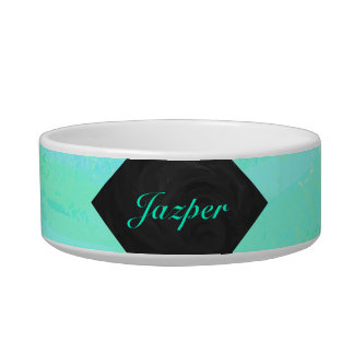 Mint Ice Blue and Black Monogram Bowl