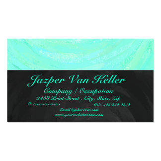 Mint Ice Blue and Black Monogram Business Card