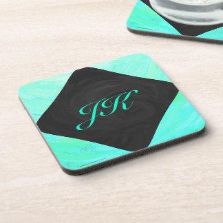 Mint Ice Blue and Black Monogram Coaster