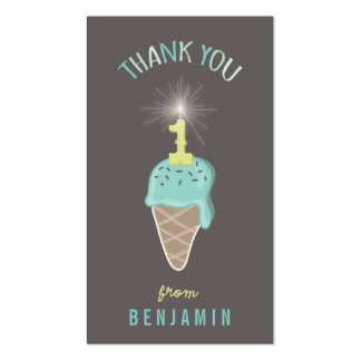 Mint Ice Cream 1st Birthday Thank You DIY Gift Tag Double-Sided Standard Business Cards (Pack Of 100)