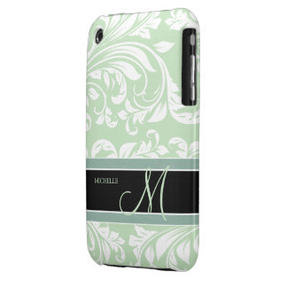 Mint Ice Cream Green and white floral damask iPhone 3 Cover