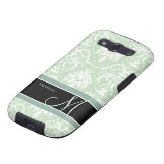 Mint Ice Cream Green and white vintage damask Samsung Galaxy SIII Covers