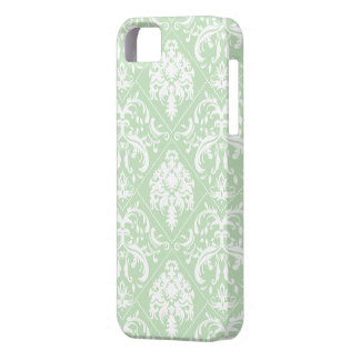 Mint Ice Cream Green and white vintage damask iPhone SE/5/5s Case