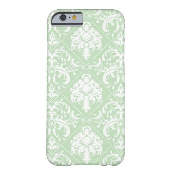 Mint Ice Cream Green and white vintage damask iPhone 6 Case