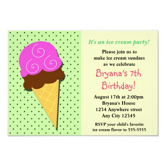 Mint Ice Cream Social Birthday Party Inviations Card