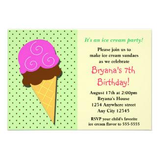 Mint Ice Cream Social Birthday Party Inviations Invitation