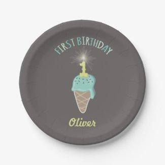Mint Ice Cream Sparkler Boy 1st Birthday Party
