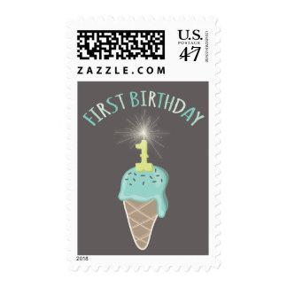 Mint Ice Cream Sparkler Boy 1st Birthday Party Postage