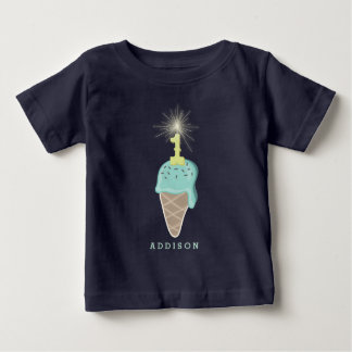 Mint Ice Cream Sparkler Boy 1st Birthday T-Shirt